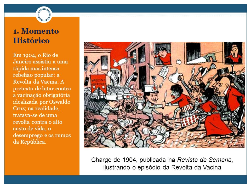 1. Momento Histórico Em 1904, o Rio de Janeiro assistiu a uma rápida mas intensa rebelião popular: a Revolta da Vacina. A pretexto de lutar contra a v