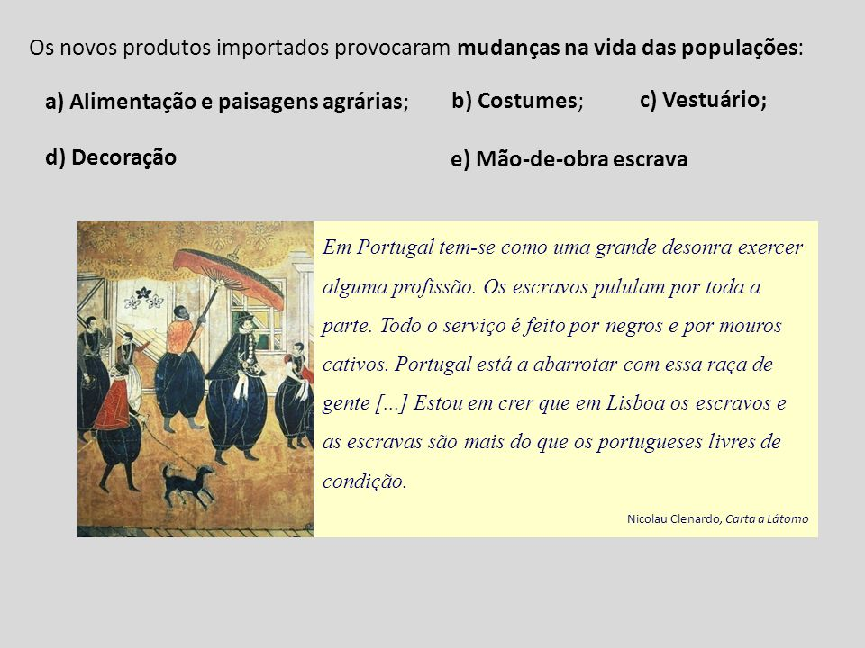 Em Portugal tem-se como uma grande desonra exercer alguma profissão. Os escravos pululam por toda a parte. Todo o serviço é feito por negros e por mou