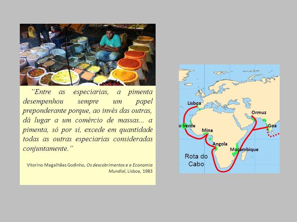 Entre as especiarias, a pimenta desempenhou sempre um papel preponderante porque, ao invés das outras, dá lugar a um comércio de massas... a pimenta,
