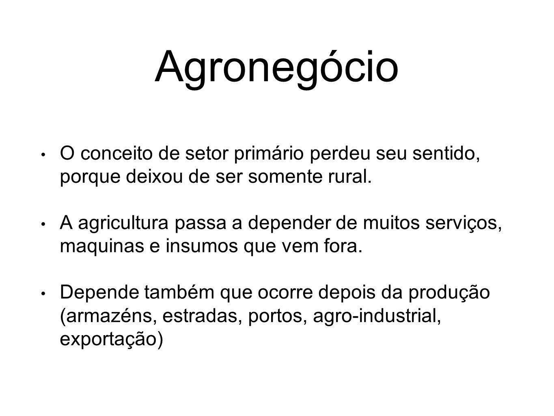 Agronegócio O conceito de setor primário perdeu seu sentido, porque deixou de ser somente rural. A agricultura passa a depender de muitos serviços, ma