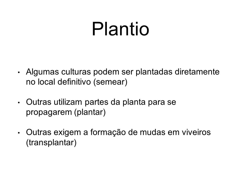 Plantio Algumas culturas podem ser plantadas diretamente no local definitivo (semear) Outras utilizam partes da planta para se propagarem (plantar) Ou