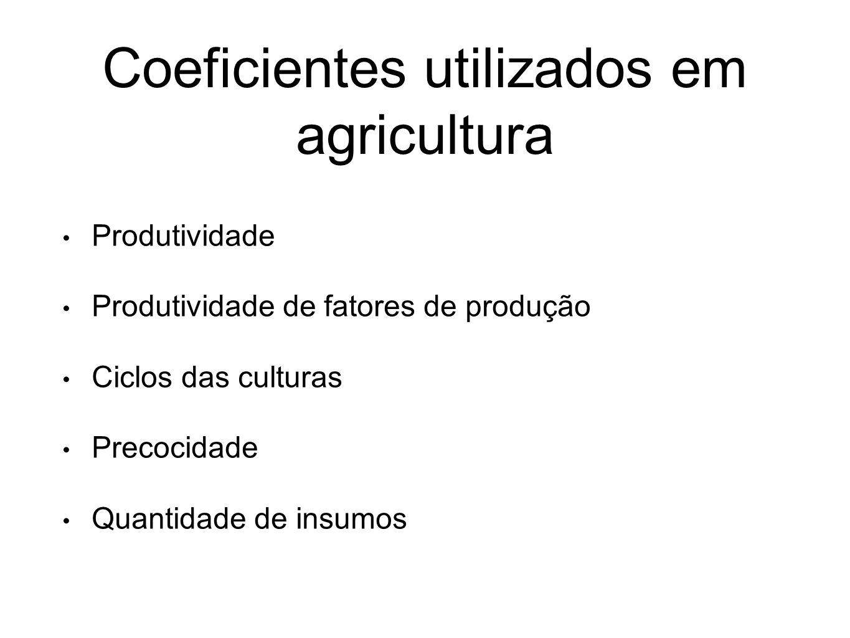 Coeficientes utilizados em agricultura Produtividade Produtividade de fatores de produção Ciclos das culturas Precocidade Quantidade de insumos