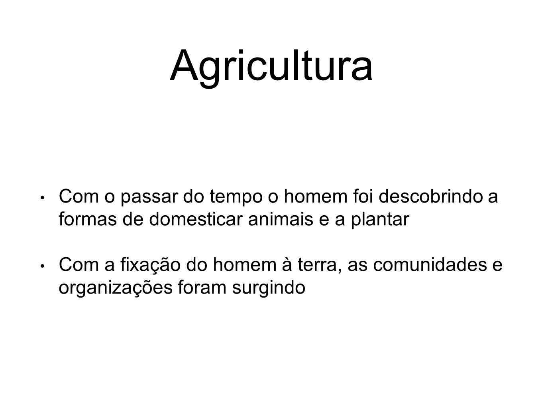 Agricultura Com o passar do tempo o homem foi descobrindo a formas de domesticar animais e a plantar Com a fixação do homem à terra, as comunidades e