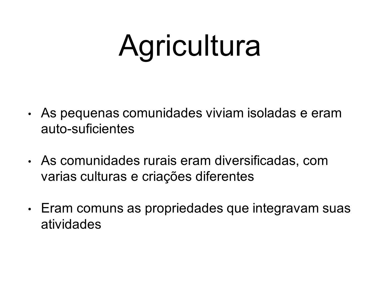 Agricultura As pequenas comunidades viviam isoladas e eram auto-suficientes As comunidades rurais eram diversificadas, com varias culturas e criações
