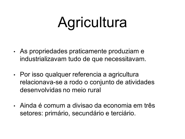 Agricultura As propriedades praticamente produziam e industrializavam tudo de que necessitavam. Por isso qualquer referencia a agricultura relacionava