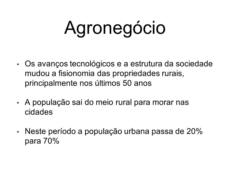 Agronegócio Os avanços tecnológicos e a estrutura da sociedade mudou a fisionomia das propriedades rurais, principalmente nos últimos 50 anos A popula