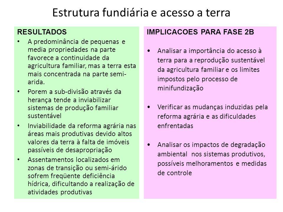 Estrutura fundiária e acesso a terra RESULTADOS A predominância de pequenas e media propriedades na parte favorece a continuidade da agricultura famil