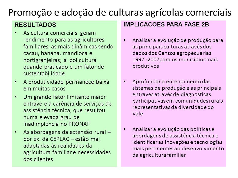 Promoção e adoção de culturas agrícolas comerciais RESULTADOS As cultura comerciais geram rendimento para as agricultores familiares, as mais dinâmica