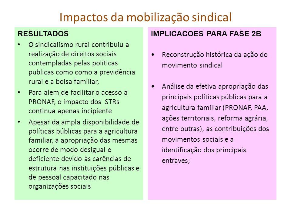 Impactos da mobilização sindical RESULTADOS O sindicalismo rural contribuiu a realização de direitos sociais contempladas pelas políticas publicas com
