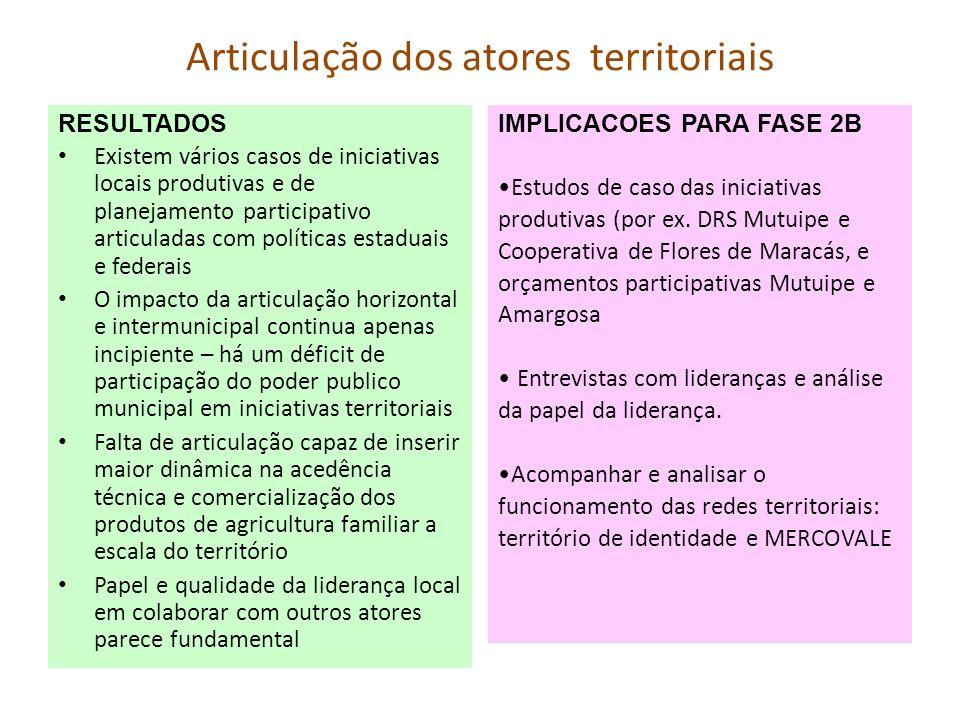 Articulação dos atores territoriais RESULTADOS Existem vários casos de iniciativas locais produtivas e de planejamento participativo articuladas com p