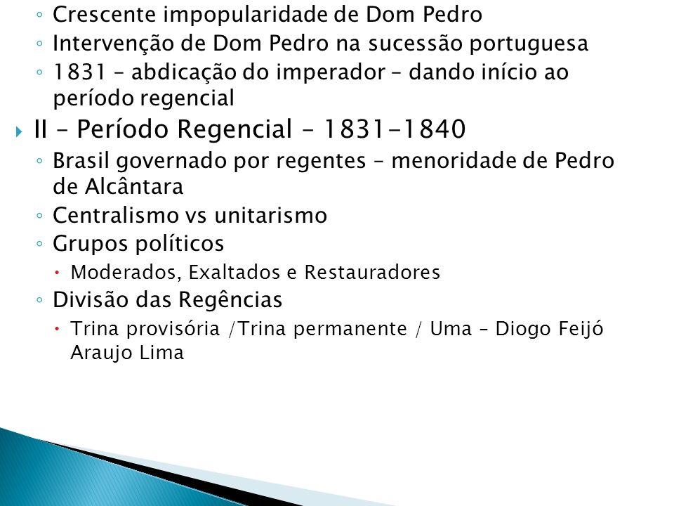 Crescente impopularidade de Dom Pedro Intervenção de Dom Pedro na sucessão portuguesa 1831 – abdicação do imperador – dando início ao período regencia