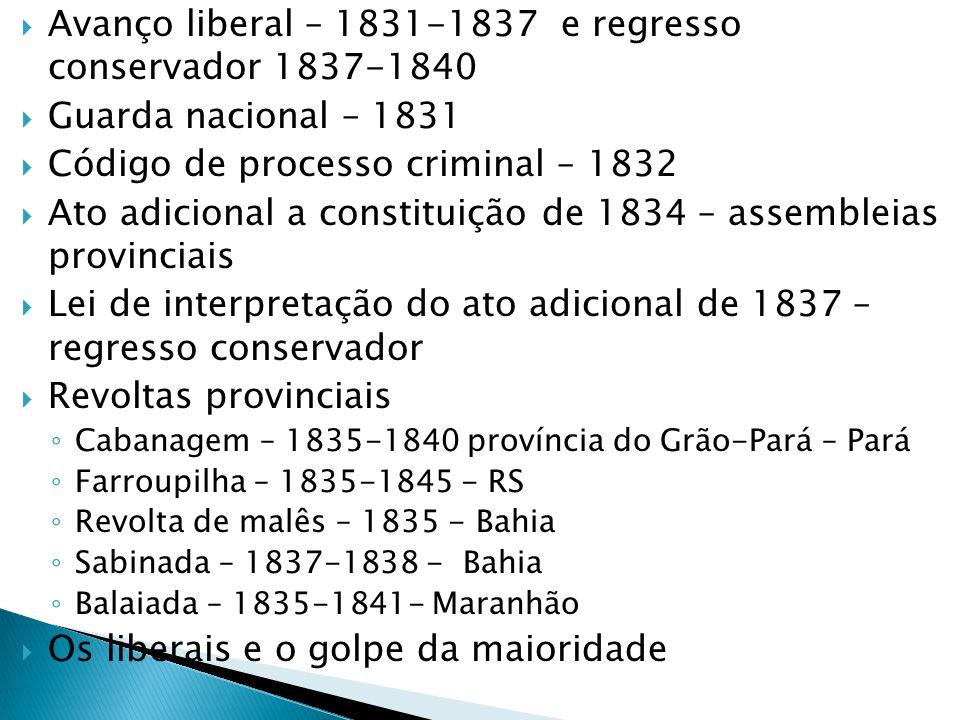 Avanço liberal – 1831-1837 e regresso conservador 1837-1840 Guarda nacional – 1831 Código de processo criminal – 1832 Ato adicional a constituição de