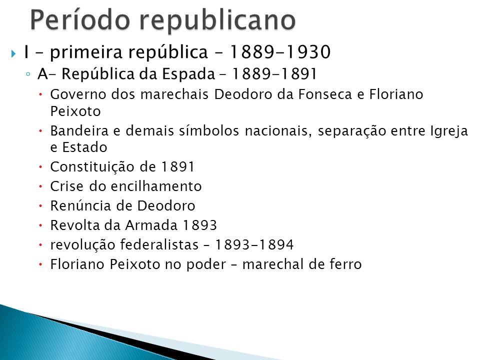 I – primeira república – 1889-1930 A- República da Espada – 1889-1891 Governo dos marechais Deodoro da Fonseca e Floriano Peixoto Bandeira e demais sí