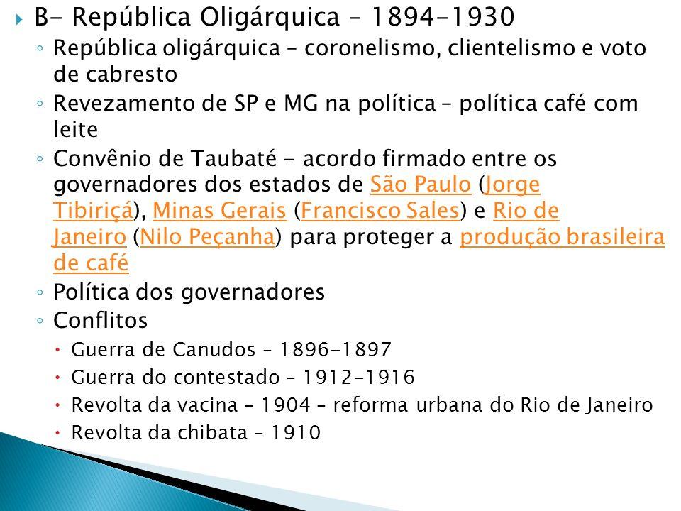 B- República Oligárquica – 1894-1930 República oligárquica – coronelismo, clientelismo e voto de cabresto Revezamento de SP e MG na política – polític