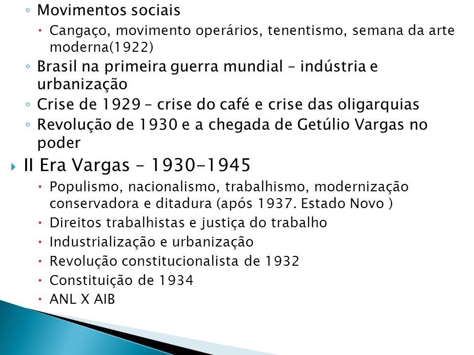 Movimentos sociais Cangaço, movimento operários, tenentismo, semana da arte moderna(1922) Brasil na primeira guerra mundial – indústria e urbanização
