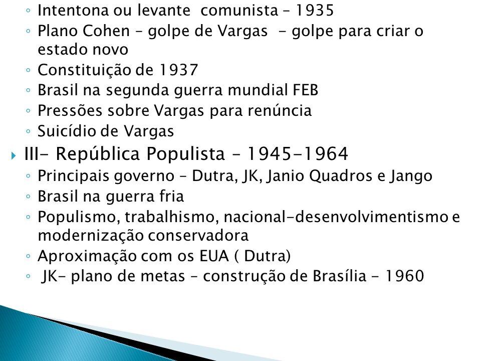 Intentona ou levante comunista – 1935 Plano Cohen – golpe de Vargas - golpe para criar o estado novo Constituição de 1937 Brasil na segunda guerra mun