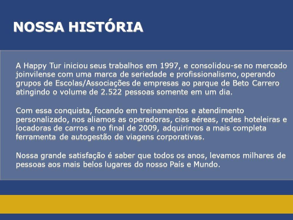 NOSSA HISTÓRIA A Happy Tur iniciou seus trabalhos em 1997, e consolidou-se no mercado joinvilense com uma marca de seriedade e profissionalismo, opera