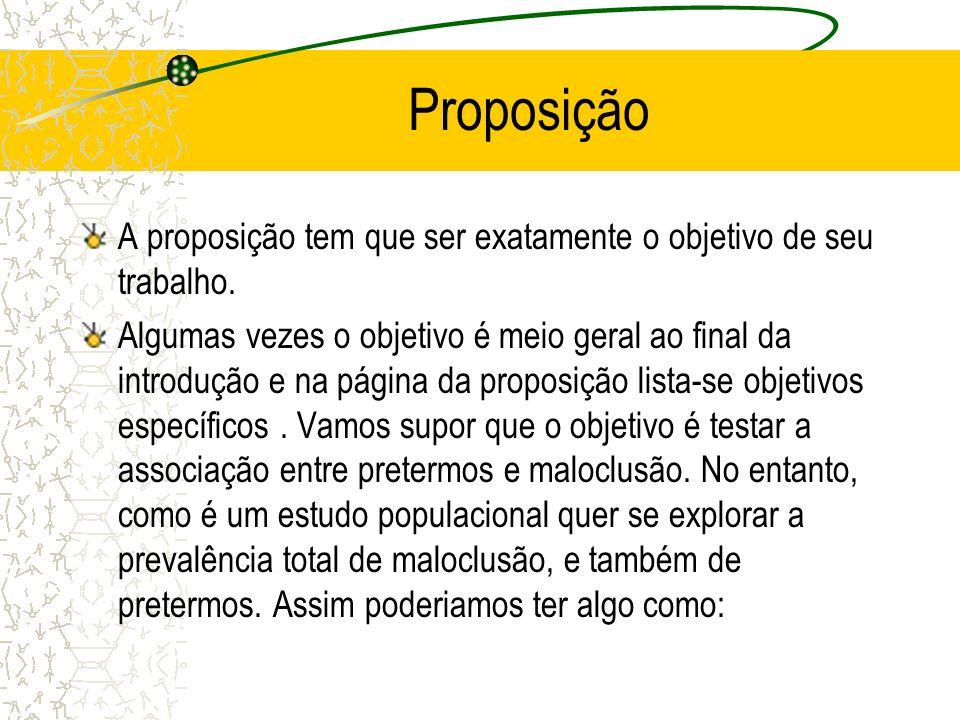 Proposição A proposição tem que ser exatamente o objetivo de seu trabalho. Algumas vezes o objetivo é meio geral ao final da introdução e na página da