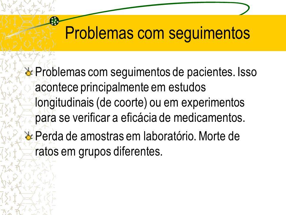 Problemas com seguimentos Problemas com seguimentos de pacientes. Isso acontece principalmente em estudos longitudinais (de coorte) ou em experimentos