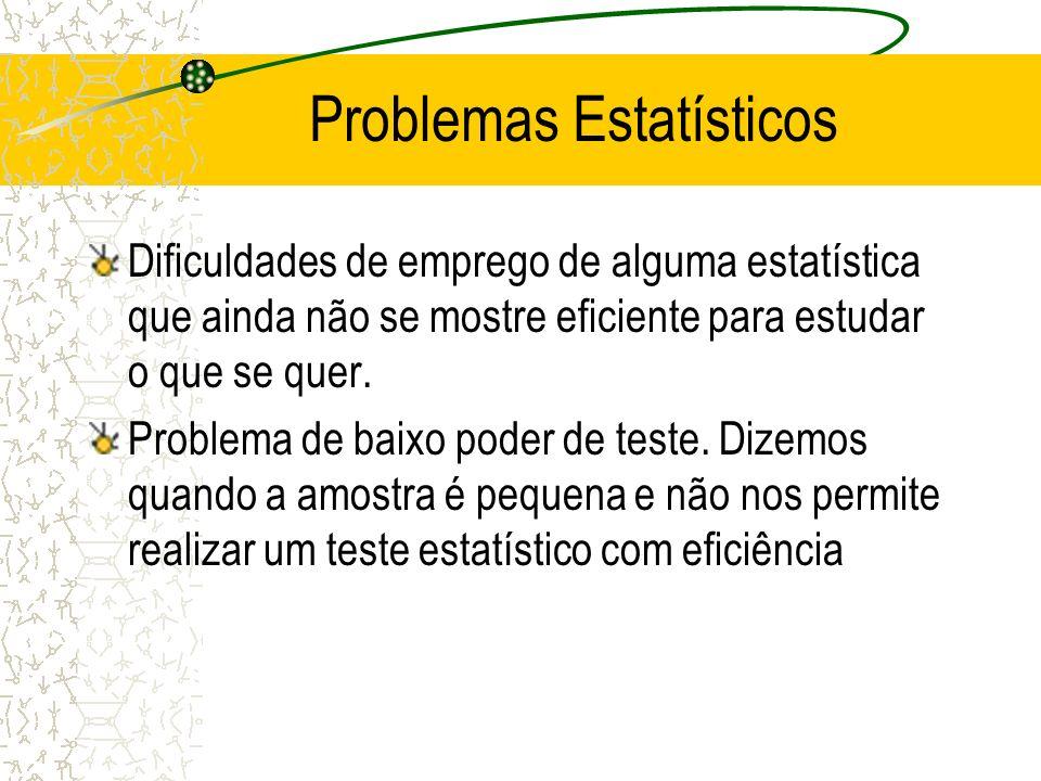 Problemas Estatísticos Dificuldades de emprego de alguma estatística que ainda não se mostre eficiente para estudar o que se quer. Problema de baixo p