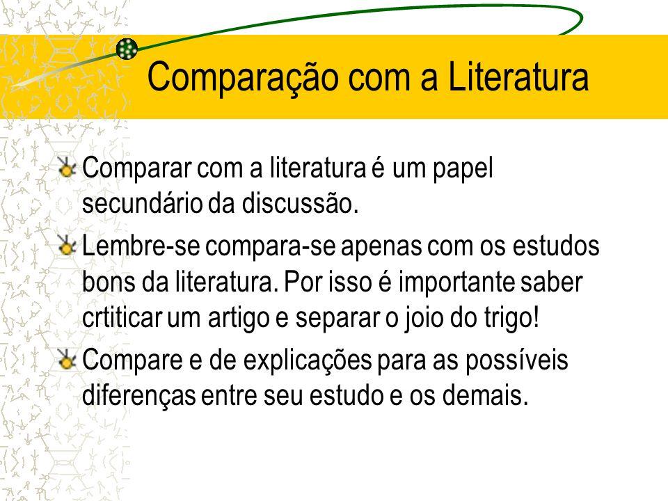 Comparação com a Literatura Comparar com a literatura é um papel secundário da discussão. Lembre-se compara-se apenas com os estudos bons da literatur