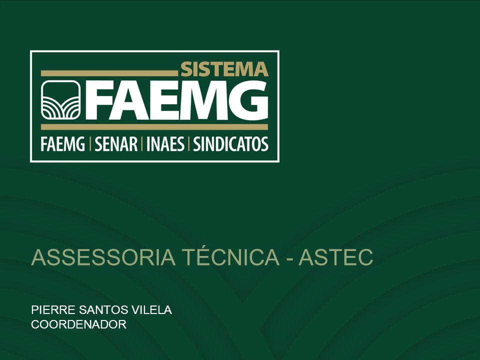 OBJETIVO Assessorar o SISTEMA FAEMG na defesa dos interesses e no desenvolvimento pleno dos produtores rurais do Estado, com foco no acompanhamento, estudos e projetos econômicos, institucionais e de mercado.