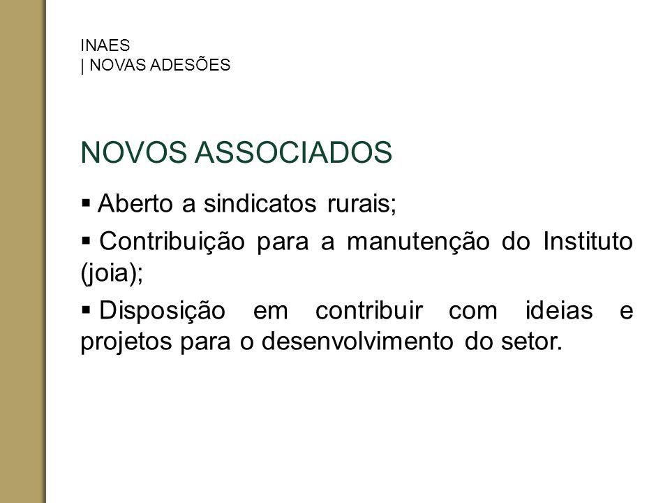 NOVOS ASSOCIADOS Aberto a sindicatos rurais; Contribuição para a manutenção do Instituto (joia); Disposição em contribuir com ideias e projetos para o