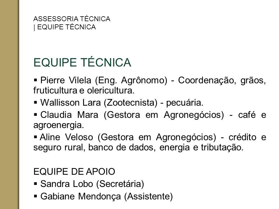 EQUIPE TÉCNICA Pierre Vilela (Eng. Agrônomo) - Coordenação, grãos, fruticultura e olericultura. Wallisson Lara (Zootecnista) - pecuária. Claudia Mara