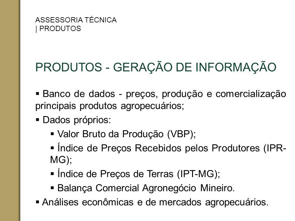 PRODUTOS - GERAÇÃO DE INFORMAÇÃO Banco de dados - preços, produção e comercialização principais produtos agropecuários; Dados próprios: Valor Bruto da