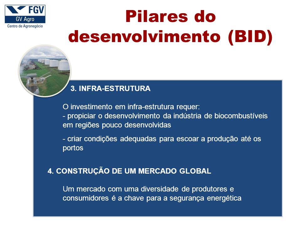 3. INFRA-ESTRUTURA O investimento em infra-estrutura requer: - propiciar o desenvolvimento da indústria de biocombustíveis em regiões pouco desenvolvi