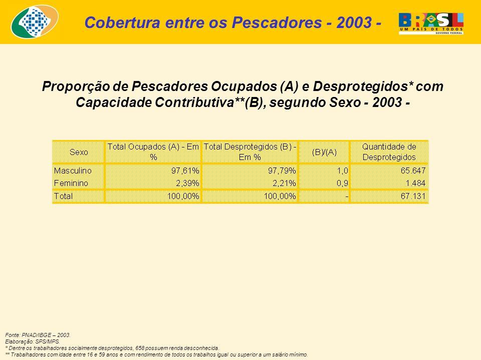 Fonte: PNAD/IBGE – 2003. Elaboração: SPS/MPS. * Dentre os trabalhadores socialmente desprotegidos, 658 possuem renda desconhecida. ** Trabalhadores co
