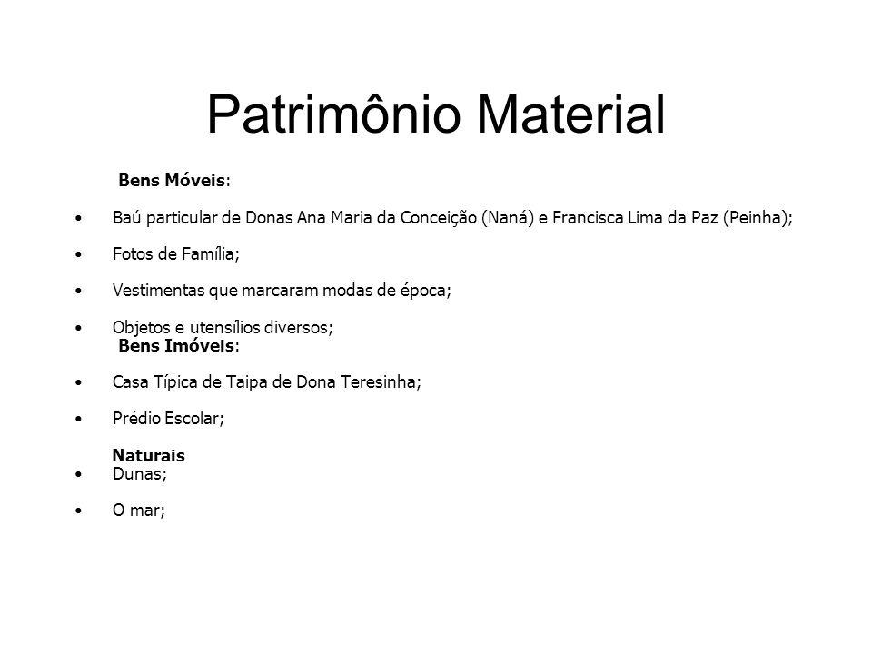 Patrimônio Material Bens Móveis: Baú particular de Donas Ana Maria da Conceição (Naná) e Francisca Lima da Paz (Peinha); Fotos de Família; Vestimentas