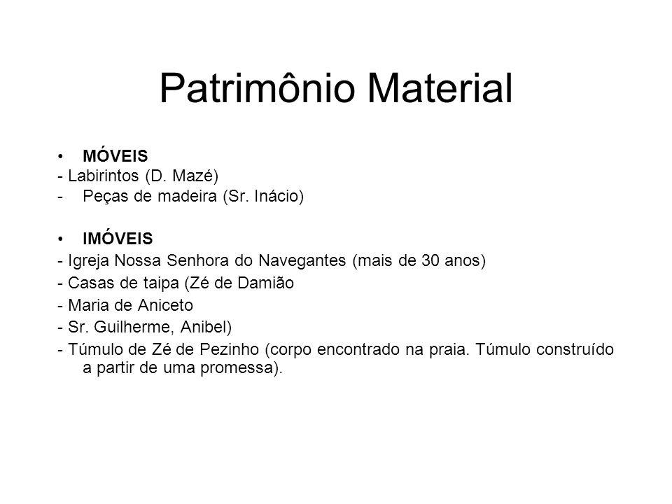 Patrimônio Material MÓVEIS - Labirintos (D. Mazé) -Peças de madeira (Sr. Inácio) IMÓVEIS - Igreja Nossa Senhora do Navegantes (mais de 30 anos) - Casa