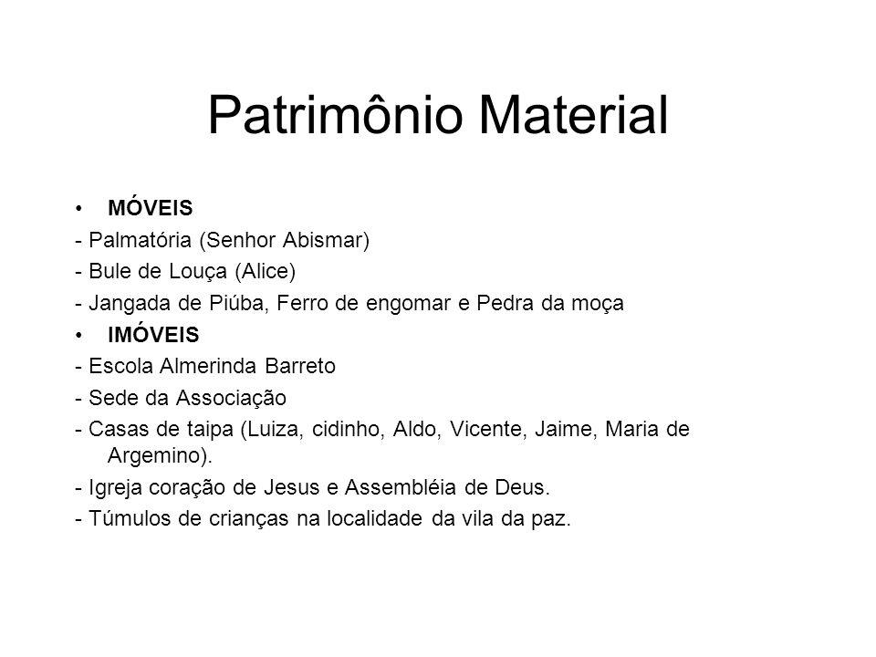 Patrimônio Material MÓVEIS - Palmatória (Senhor Abismar) - Bule de Louça (Alice) - Jangada de Piúba, Ferro de engomar e Pedra da moça IMÓVEIS - Escola