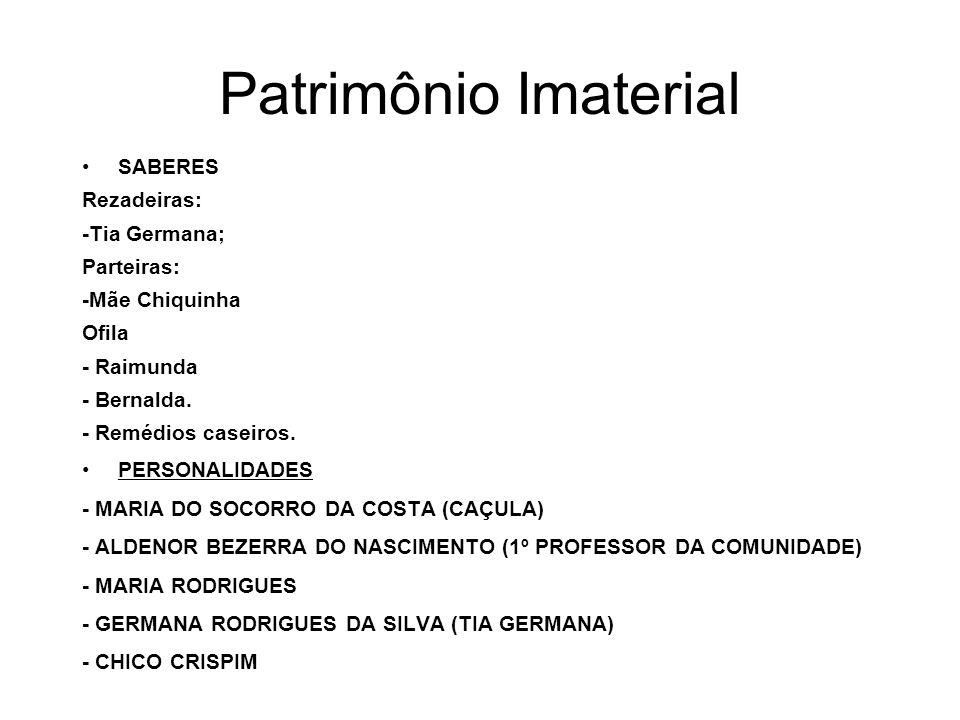 Patrimônio Imaterial SABERES Rezadeiras: -Tia Germana; Parteiras: -Mãe Chiquinha Ofila - Raimunda - Bernalda. - Remédios caseiros. PERSONALIDADES - MA