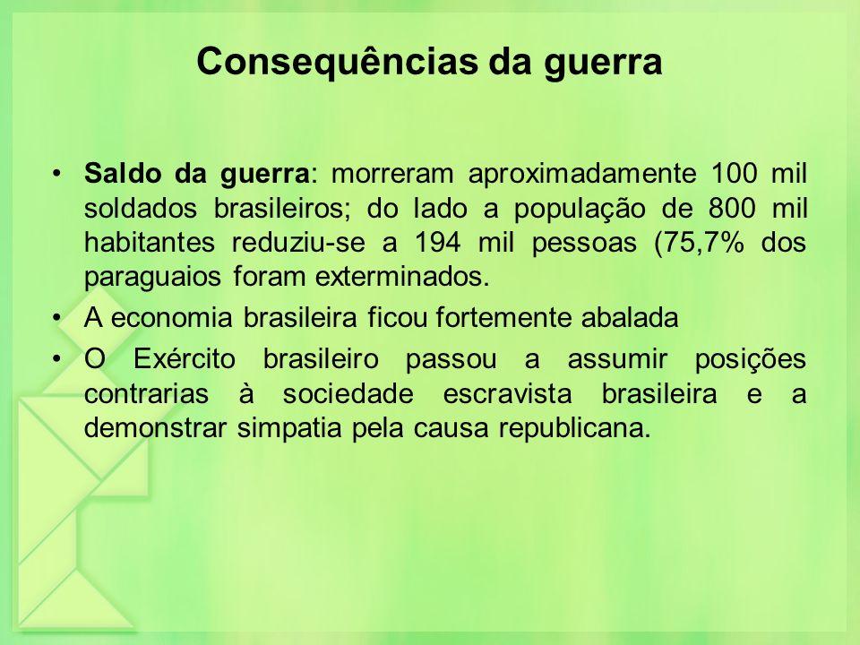 Consequências da guerra Saldo da guerra: morreram aproximadamente 100 mil soldados brasileiros; do lado a população de 800 mil habitantes reduziu-se a