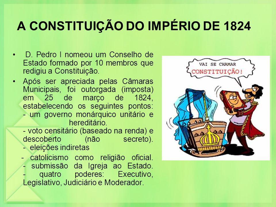 A CONSTITUIÇÃO DO IMPÉRIO DE 1824 D. Pedro I nomeou um Conselho de Estado formado por 10 membros que redigiu a Constituição. Após ser apreciada pelas