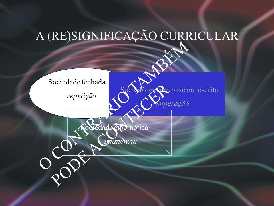 A (RE)SIGNIFICAÇÃO CURRICULAR Sociedade fechada repetição Sociedades com base na escrita superação Sociedade cibernética imanência O CONTRÁRIO TAMBÉM PODE ACONTECER