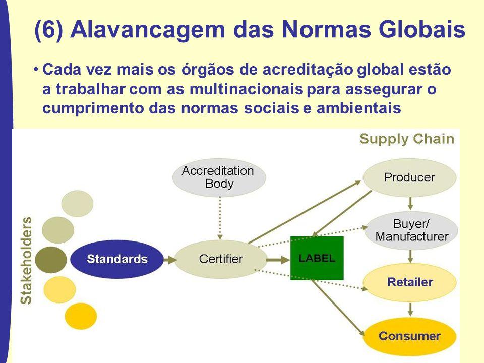 The World Bank (6) Alavancagem das Normas Globais Cada vez mais os órgãos de acreditação global estão a trabalhar com as multinacionais para assegurar o cumprimento das normas sociais e ambientais