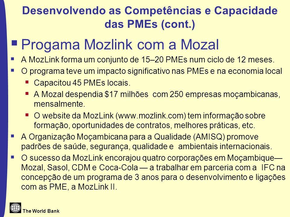 The World Bank Desenvolvendo as Competências e Capacidade das PMEs (cont.) Progama Mozlink com a Mozal A MozLink forma um conjunto de 15–20 PMEs num ciclo de 12 meses.