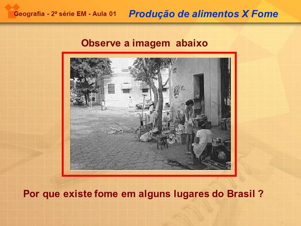 Geografia - 2ª série EM - Aula 01 Observe a imagem abaixo Produção de alimentos X Fome Por que existe fome em alguns lugares do Brasil ?