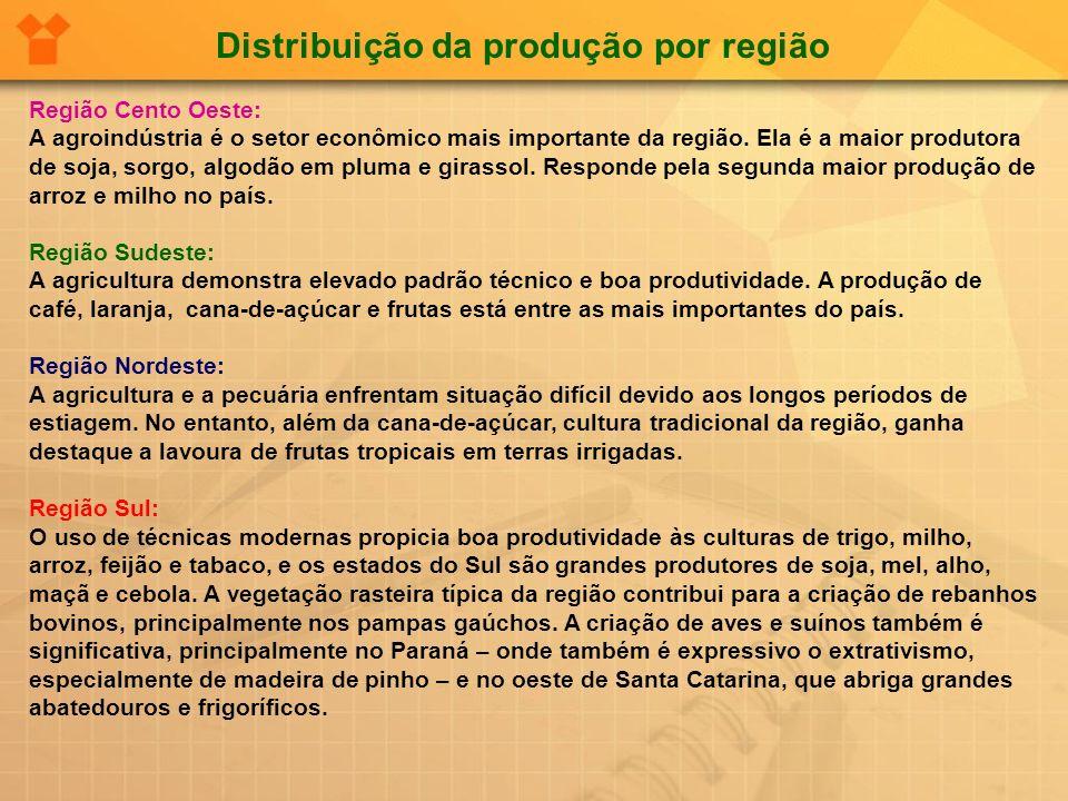 Região Cento Oeste: A agroindústria é o setor econômico mais importante da região. Ela é a maior produtora de soja, sorgo, algodão em pluma e girassol
