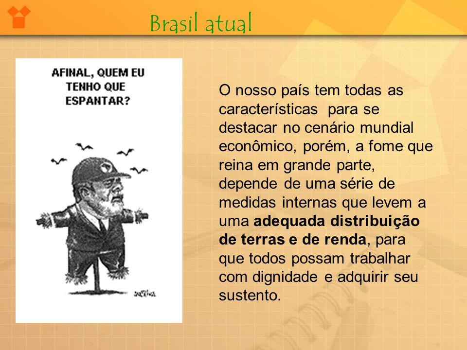 Brasil atual O nosso país tem todas as características para se destacar no cenário mundial econômico, porém, a fome que reina em grande parte, depende