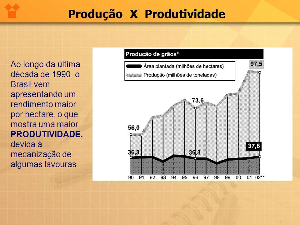 Produção X Produtividade Ao longo da última década de 1990, o Brasil vem apresentando um rendimento maior por hectare, o que mostra uma maior PRODUTIV