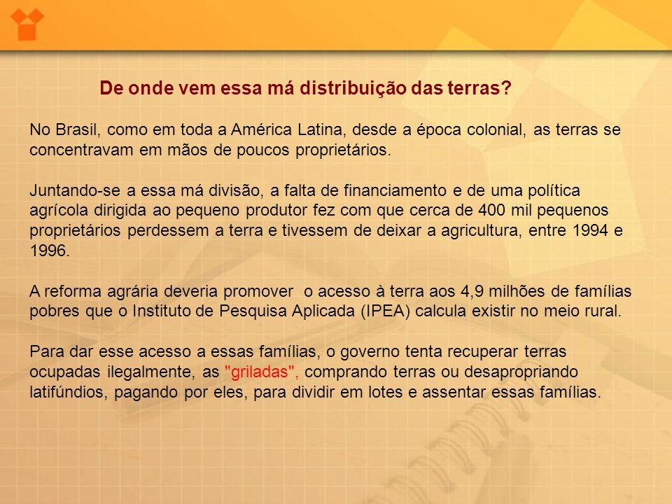 De onde vem essa má distribuição das terras? No Brasil, como em toda a América Latina, desde a época colonial, as terras se concentravam em mãos de po