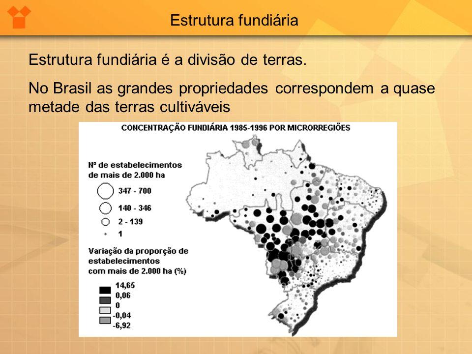 Estrutura fundiária Estrutura fundiária é a divisão de terras. No Brasil as grandes propriedades correspondem a quase metade das terras cultiváveis