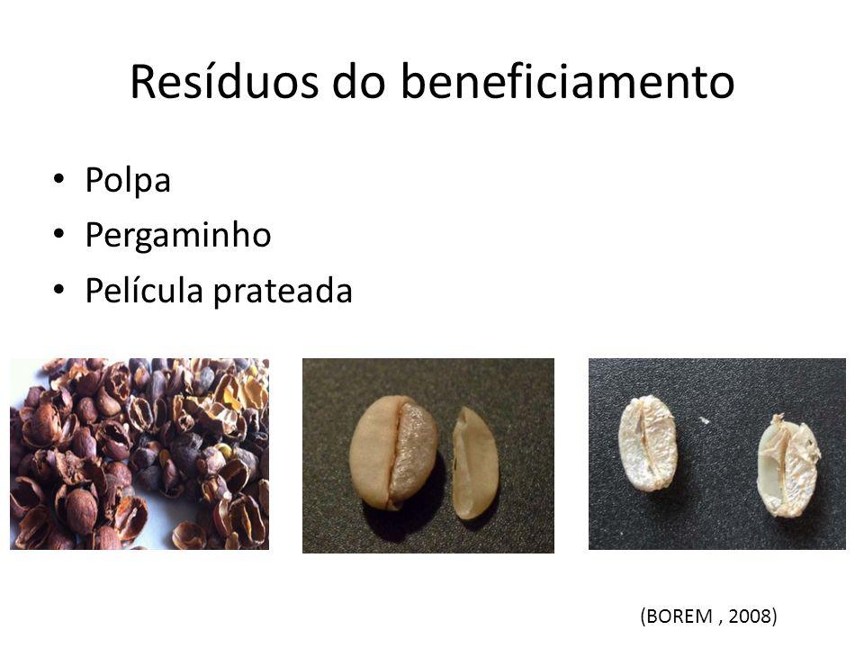 Resíduos do beneficiamento Polpa Pergaminho Película prateada (BOREM, 2008)