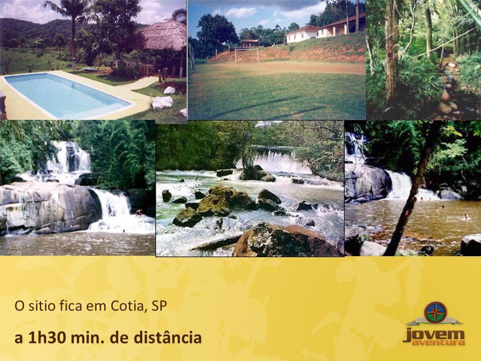 O sitio fica em Cotia, SP a 1h30 min. de distância