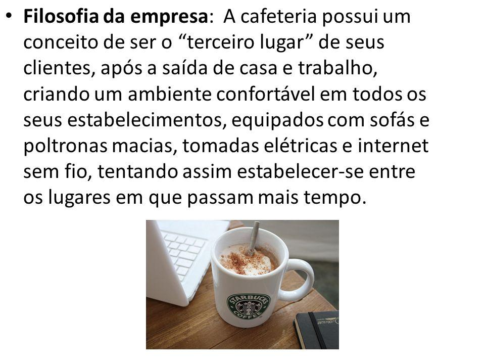 Filosofia da empresa: A cafeteria possui um conceito de ser o terceiro lugar de seus clientes, após a saída de casa e trabalho, criando um ambiente co