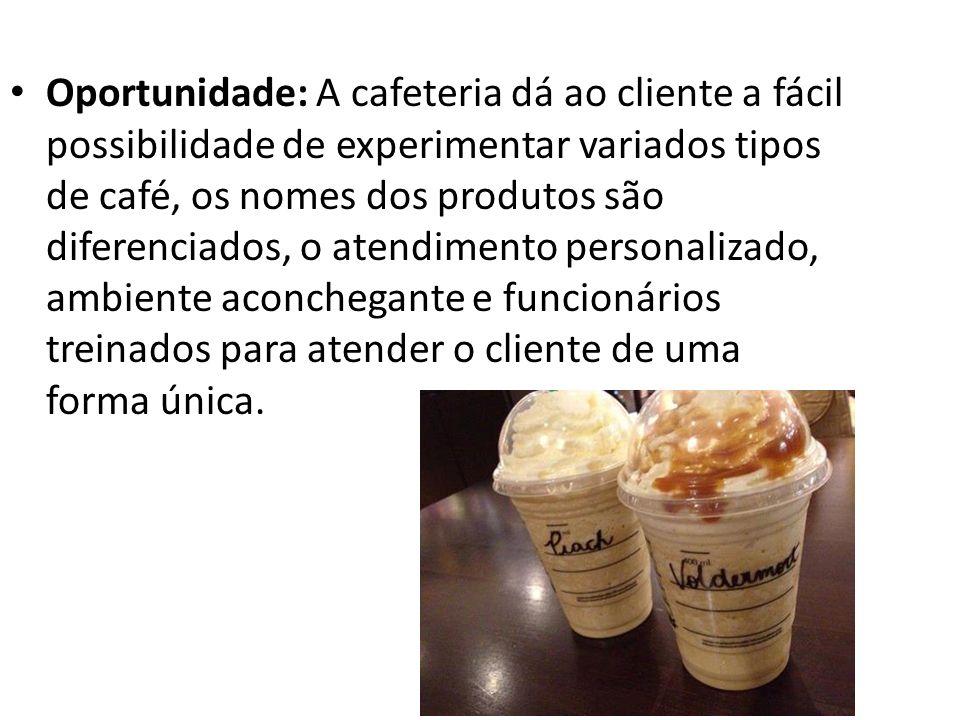 Oportunidade: A cafeteria dá ao cliente a fácil possibilidade de experimentar variados tipos de café, os nomes dos produtos são diferenciados, o atendimento personalizado, ambiente aconchegante e funcionários treinados para atender o cliente de uma forma única.
